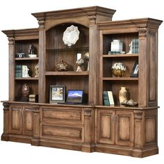 Fairbanks Large Hardwood Bookcase Credenza - Countryside Amish... ($9,127) ❤ liked on Polyvore featuring home, furniture, storage & shelves, bookcases, home storage furniture, hardwood bookcases, storage credenza, storage furniture and ornate furniture