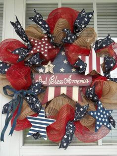 GOD BLESS AMERICA - Vintage Americana Patriotic Fourth of July Holiday / Anytime Wreath Decoration