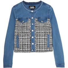 Karl Lagerfeld Denim and bouclé-tweed jacket (540 265 LBP) ❤ liked on Polyvore featuring outerwear, jackets, karl lagerfeld jacket, tweed jacket, denim jacket, collarless jackets and tweed boucle jacket