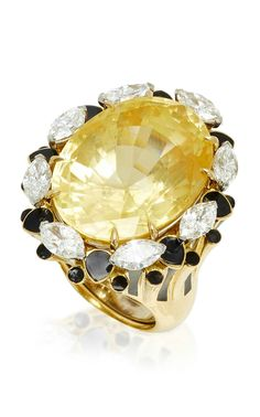 One-of-a-kind Couture ring by DAVID WEBB, radiated with a tiered gold shoulder with a beautifully cut oval yellow sapphire t.w. 42.15cts embellished with petals of sparkling diamonds and contrasting enamel details, in 18k yellow gold.