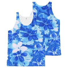 Vintage Floral White Blue Violets Flowers All-Over Print Tank Top Tank Tops