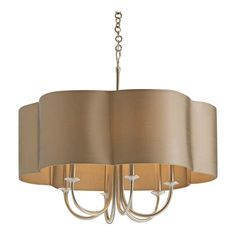 This Arteriors Home contemporary chandelier will be an appealing addition to any Contemporary decor. The Rittenhouse style is a striking creation in a silver finish with subtle curves and a contoured olive-grey oval shade. Perfect for a formal dining room or a fashionable seating area. This chandelier is in perfect condition, however the shade has a couple of spots and could use a cleaning. Takes six 60 watt bulbs, that are not included.