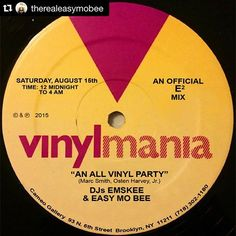 "#Repost @therealeasymobee  SAT AUG 15  #VINYLMANIA ""A New All Vinyl Party"" by DJ's @djemskee & @therealeasymobee @ #CameoGallery 93 N. 6th St in #Williamsburg #Brooklyn #NY 12 Midnight To 4AM #vinyl #musicislife #bmg #bk"