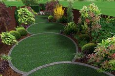 Circular garden design with five diminishing, overlapping off-center round lawns to add perspective to a triangular garden design.