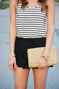 Striped tank + lace shorts   Love, Lenore Mode Ados, Réservoir Rayé, Tenues 55aee2a6a828