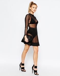 Boohoo Mesh Over Lace Skirt With Hot Pant