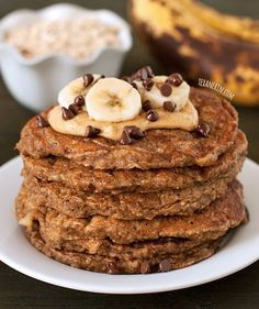 Banana Pancakes - gluten-free, 100% whole grain, and dairy-free. And they don't taste the least bit healthy!   texanerin.com