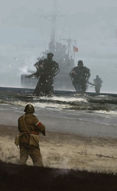 Westerplatte 1939 by Jakub Rozalski - Illustration commemorating the attack of Nazi Germany on Poland, September 1939 and beginning of the WWII. Fantasy Kunst, Dark Fantasy Art, Fantasy Artwork, Dark Art, Diesel Punk, Arte Horror, Horror Art, Illustrator, Art Pictures