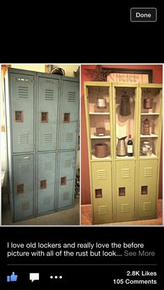 This Repurposed Locker Becomes A Stylish China Cabinet / Kitchen Storage.  Removing The Upper Doors And Giving It Some Fresh Paint Really Changes The  Feel.