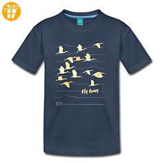 Animal Planet Kraniche Fly Away Teenager Premium T-Shirt von Spreadshirt®, 146/152 (10 Jahre), Navy - Shirts mit spruch (*Partner-Link)
