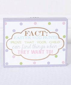 Look what I found on #zulily! 'Fact' Wood Box Sign #zulilyfinds