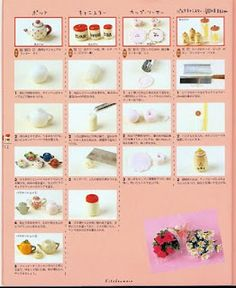 Several illustrated step-by-steps for polymer clay flowers (good beginner techniques) | Source: Tangerine Taiyaki