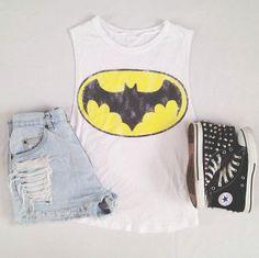 Band t-shirt(batman shirt works too! Best superhero!!), shorts, pants, and converse shoes!!