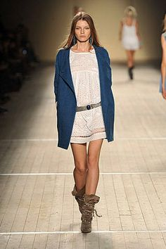 Romantic cream-color dress with a utility jacket and suede boots (Isabel Marant 2009)