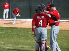 Molina and Boggs finish a bullpen session.  2-12-13