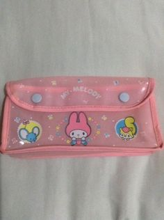 3dd05299866c Collector s My Melody Vintage Sanrio Japan 1976 Pink Plastic Case Bag  Button Pink Plastic