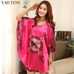 dd3db3f0d63 RB025 Summer silk ladies plus size sleepwear women s nightdresses  comfortable satin silk nightgowns floral nightshirts Plus