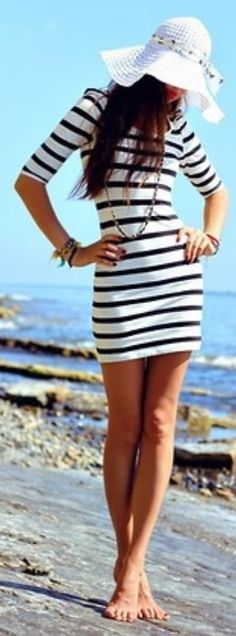Beach Style2014 - Style Estate - Love the hat and preppy/nautical theme.