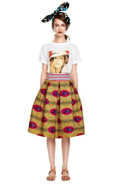 Primula Wax Cotton Skirt With Contrast Waistband by Stella Jean - Moda Operandi