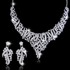 Vintage Style Swarovski Crystal Wedding Jewelry Set, Bridal Silver Earring, Bride Statement Necklace, Bridesmaid Jewlery-168340169