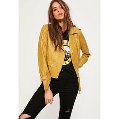 Missguided Faux Leather Biker Jacket ($63) ❤ liked on Polyvore featuring outerwear, jackets, mustard, vegan leather moto jacket, biker jackets, yellow motorcycle jacket, mustard yellow jacket and vegan leather jacket