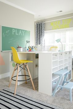 Designating sections of a playroom to art, music, or dress-up can help foster a space that lets your kids grow, dream and explore! Sponsored by @Amfaminsurance.