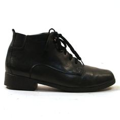 90s Lace Up Ankle Boots / Black Leather / Women's by SpunkVintage, $46.00