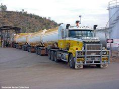 Mack road train of tankers.