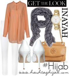 Hashtag Hijab Outfit peach and white pants Hijab Fashion 2016, Muslim Women Fashion, Islamic Fashion, Modest Fashion, Fashion Outfits, Women's Fashion, Casual Hijab Outfit, Hijab Chic, Hijab Dress