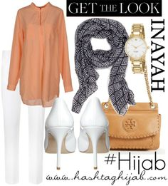 Hashtag Hijab Outfit #240 peach and white pants