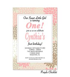 Pink First Birthday Invitation Girl's 1st Birthday Party Invitation One year invite Floral Party Invite Printable JPG File Invite 301 by PurpleChicklet