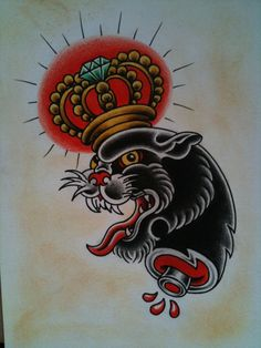 old school panther tattoo flash up for grabs by Charlie Tapper Tattoo #panther…