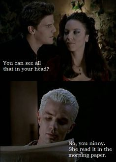 Ha Spike knows before Angelus bcuz Spike and Drusilla are soulmates. Bam.