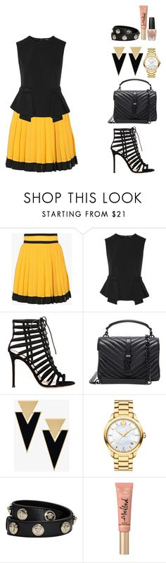 """""""in a cage"""" by itsmeambra ❤ liked on Polyvore featuring Balmain, Raoul, Gianvito Rossi, Yves Saint Laurent, Movado, Versace, Too Faced Cosmetics and OPI"""