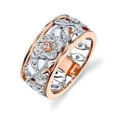 Simon G. Floral Diamond Ring:  18K white and rose gold floral design ring set with diamonds