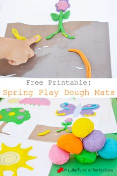 Free Printable: Spring Play Dough Mats- simple designs to inspire creativity (bugs, weather, plants, trees, and more)| A Little Pinch of Perfect