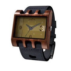 Mistura Lenzo Wooden Unisex Watch Black Leather Band Gold Dial Black Hands