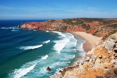 A visit to Costa Vicentina Portugal, part of the wonderfully rugged coast. Great hiking, biking, surfing and wildlife viewing can be found in Costa Vicentina. Things to do in Costa Vicentina. Algarve, Yacht Vacations, Best Beaches To Visit, Places In Portugal, Reserva Natural, Sun And Water, Beautiful Beaches, The Great Outdoors, Surfing
