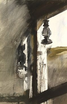 Andrew Wyeth, Shed Lantern 1954, watercolor on paper