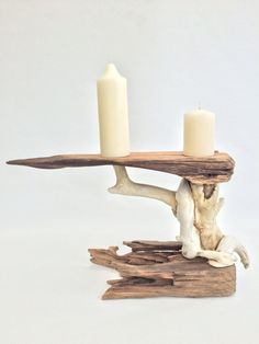 driftwood candle holder by Driftscape on Etsy
