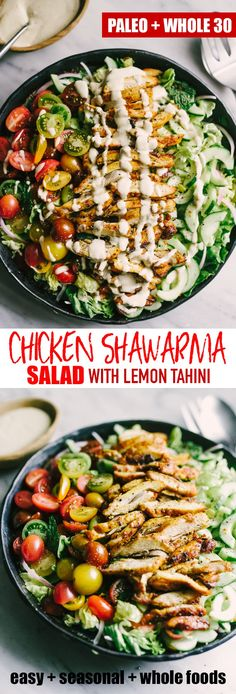 Chicken shawarma salad is an incredibly flavorful, fresh, and elegant weeknight paleo dinner. Each bite is crisp, bright and bursting with flavor. The marinade takes just minutes and can be prepped the night before, making for an easy and fast dinner.