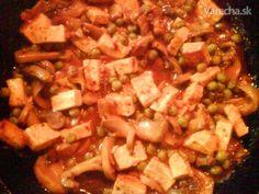 Tofu na hrášku a šampiňónoch