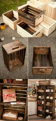 DIY Wooden Crates / Shelves / Storage ------------------------------------------- Im . - DIY Wooden Crates / Shelves / Storage ——————————————- Reference image f - Wood Crafts, Diy Crafts, Crate Crafts, Upcycled Crafts, Decor Crafts, Apple Crates, Diy Regal, Diy Casa, Into The Woods