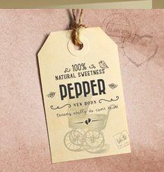een hip vintage geboortekaartje (4340) : een hip meisjes geboortekaartje met kinderwagen en label.