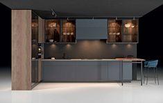 Rustic Kitchen Design, Kitchen Room Design, Home Decor Kitchen, Distressed Kitchen Cabinets, Kitchen Cabinetry, Luxury Homes Interior, Home Interior Design, Modern Kitchen Interiors, Apartment Balcony Decorating