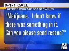 This is the 911 tape of the Michigan police officer who confiscated marijuana from suspects, used it to make pot brownies with his wife, and called 911 believing they were dying.  Very Funny