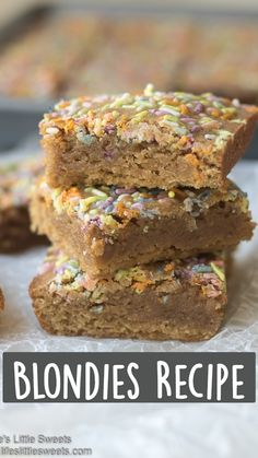 This Blondies recipe is a dense, sweet and delicious dessert recipe that uses regular olive oil (or Canola oil), 5 eggs and topped with optional all natural sprinkles. #blondies #sweet #dessert #onebowl #recipe #allnaturalsprinkles #indiatreesprinkles #snack #oliveoil #vanilla Desserts For A Crowd, Delicious Desserts, Easy Desserts, Dessert Recipes, Sweets Recipe, Yummy Food, Cakey Brownie Recipe, Brownie Recipes, Mint Chocolate Candy