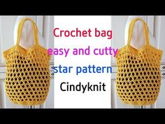 crochet cuty star pattern net bag(eng sub) Crochet Stars, Net Bag, Simple Bags, Market Bag, Star Patterns, Hand Embroidery, Straw Bag, Purses And Bags, Diy And Crafts