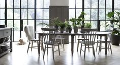 Sheldrake oak extending table, wardley oak dining chairs, painted dining chairs