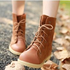 Round Toe Patchwork Lace Up Flat Martin Short Boots